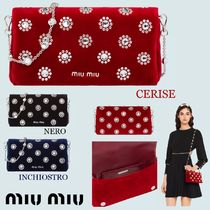 MiuMiu Flower Patterns Chain Party Style With Jewels Elegant Style