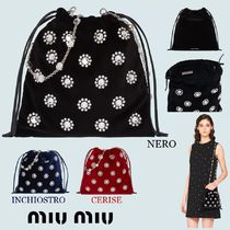 MiuMiu Flower Patterns Chain Party Style Purses With Jewels