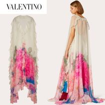 VALENTINO Flower Patterns Maxi Silk V-Neck Long Party Style Dresses