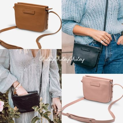 Crossbody Logo A4 Plain Leather Shoulder Bags