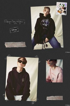 Unisex Street Style Collaboration Long Sleeves Cotton