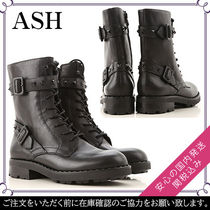 ASH Round Toe Rubber Sole Lace-up Studded Plain Leather