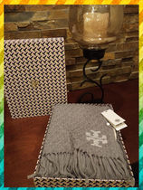 Tory Burch Plain Knit & Fur Scarves