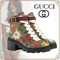 GUCCI Flower Patterns Monogram Platform Casual Style Leather