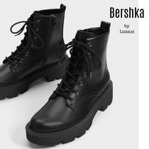 Bershka Platform Lace-up Casual Style Plain Lace-up Boots