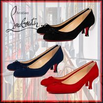 Christian Louboutin Round Toe Casual Style Velvet Plain Party Style Office Style