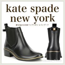 kate spade new york Rubber Sole Blended Fabrics Plain Mid Heel Boots