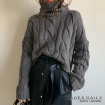 Cable Knit Casual Style Nylon Long Sleeves Medium High-Neck