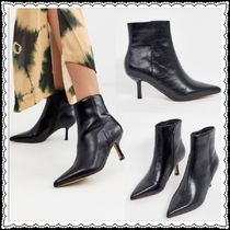 TOPSHOP Casual Style Faux Fur Plain Pin Heels Ankle & Booties Boots