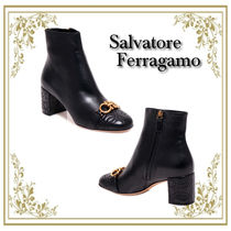 Salvatore Ferragamo Rubber Sole Leather Elegant Style Ankle & Booties Boots