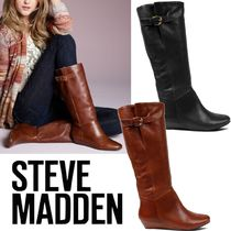 Steve Madden Casual Style Plain Leather Wedge Boots