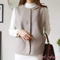 Casual Style Wool Plain Vests