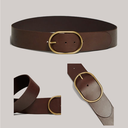 Casual Style Plain Leather Office Style Belts