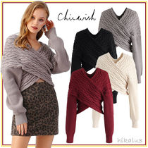 Chicwish Cable Knit Casual Style Long Sleeves Elegant Style Knitwear