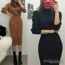 Casual Style Tight Long Sleeves Plain Medium High-Neck