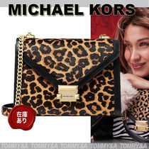 Michael Kors WHITNEY Leopard Patterns Casual Style Unisex Calfskin Nylon