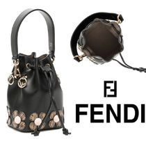 FENDI MON TRESOR Flower Patterns Casual Style Chain Plain Leather Purses