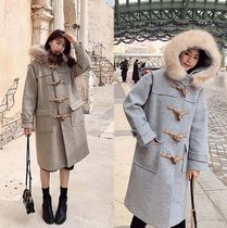 Casual Style Plain Long Office Style Oversized Duffle Coats
