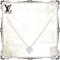 Louis Vuitton MONOGRAM Blended Fabrics Flower Chain Party Style 18K Gold