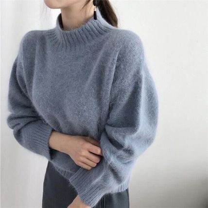 Short Casual Style Rib Long Sleeves Plain Medium High-Neck