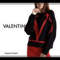 VALENTINO Crew Neck Casual Style Wool Bi-color Long Sleeves Plain