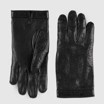 GUCCI Leather Logo Leather & Faux Leather Gloves