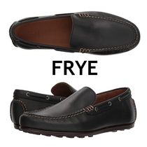 FRYE Driving Shoes Moccasin Plain Leather Loafers & Slip-ons