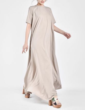 Casual Style Maxi A-line Flared Plain Long Short Sleeves