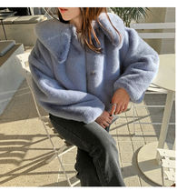 Short Plain Medium Fur Vests Oversized Parkas
