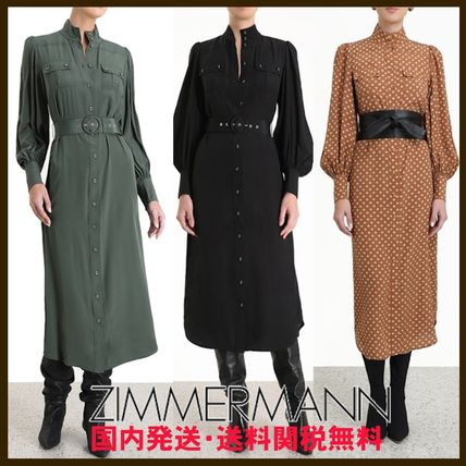 Crew Neck Wrap Dresses Dots Casual Style Maxi A-line Silk