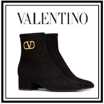 VALENTINO VLOGO Casual Style Suede Plain Block Heels Office Style