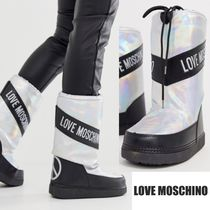 Love Moschino Round Toe Rubber Sole Casual Style Faux Fur Street Style
