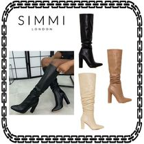 SIMMI Casual Style Suede Street Style Plain Block Heels
