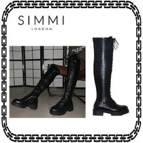 SIMMI Lace-up Casual Style Street Style Plain Over-the-Knee Boots
