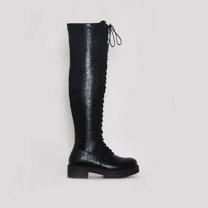 Lace-up Casual Style Street Style Plain Over-the-Knee Boots
