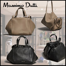 Massimo Dutti 2WAY Plain Leather Office Style Elegant Style Handbags