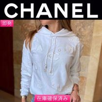 CHANEL ICON Chanel Long Sleeves Plain Logo hoodie white cc lare a logo