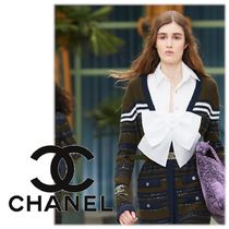 CHANEL ICON Casual Style Plain Cotton Party Style Elegant Style