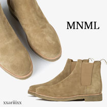 MNML Blended Fabrics Street Style Plain Leather Chelsea Boots