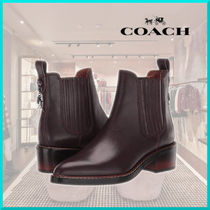 Coach Casual Style Plain Leather Block Heels Office Style