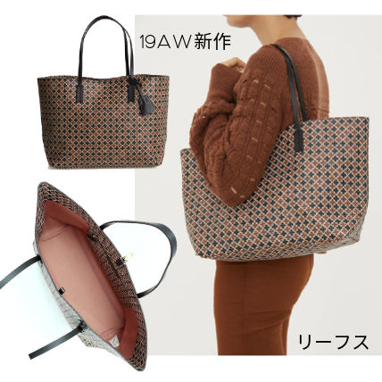 Casual Style A4 Leather Office Style Totes