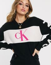 Calvin Klein Wool U-Neck Long Sleeves Plain Oversized V-neck & Crew neck