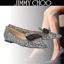 Jimmy Choo Leather Elegant Style Glitter Pointed Toe Shoes