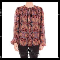 ETRO Flower Patterns Paisley Casual Style Chiffon Silk