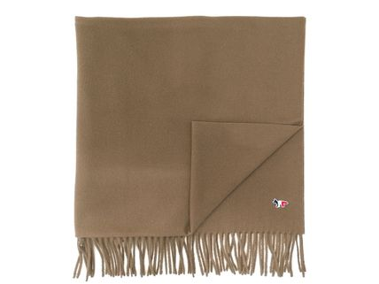 Wool Plain Logo Scarves