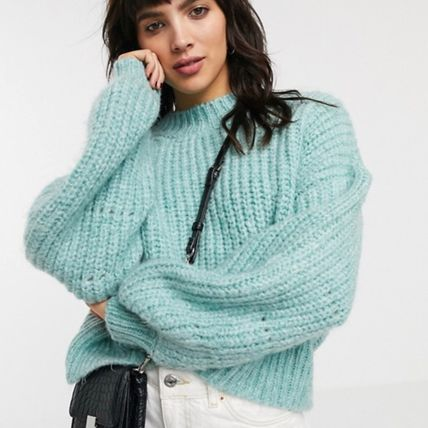 Crew Neck Cable Knit Short Casual Style Wool Dolman Sleeves