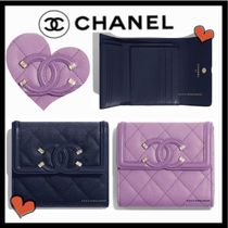 CHANEL ICON Unisex Calfskin Plain Folding Wallets