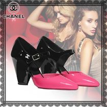 CHANEL Studded Bi-color Plain Leather Block Heels Elegant Style