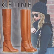CELINE Casual Style Plain Leather Elegant Style Wedge Boots