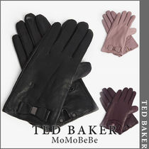TED BAKER Wool Plain Leather Leather & Faux Leather Gloves